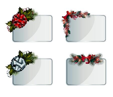 Conjunto de plata vector tarjetas de Navidad decorado con elementos decorativos