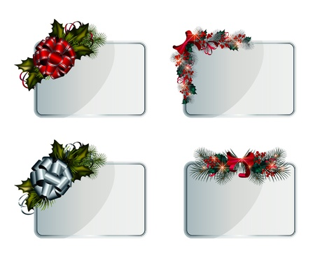 Set of silver vector Christmas cards decorated with decorative elements