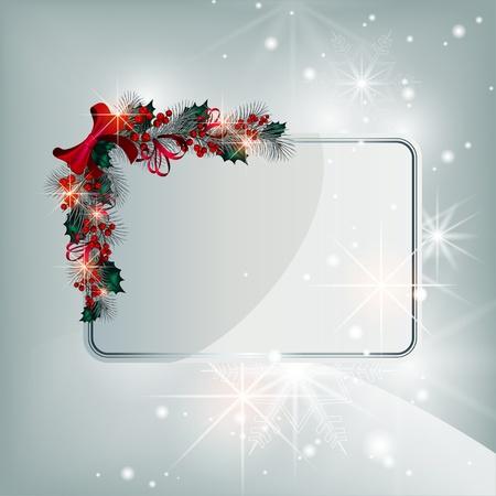 Plata brillante vector tarjeta de Navidad con elementos decorativos de las ramas de con�feras y bayas