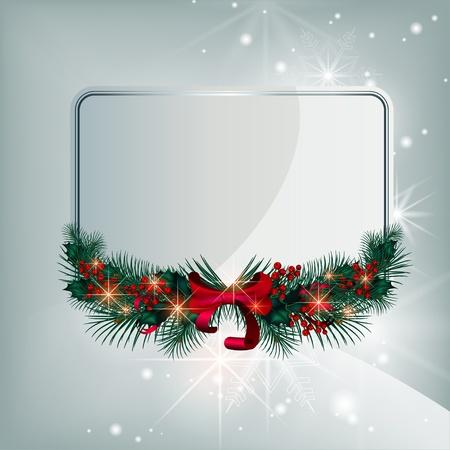 Plata brillante vector tarjeta de Navidad con elementos decorativos de las ramas de coníferas y bayas