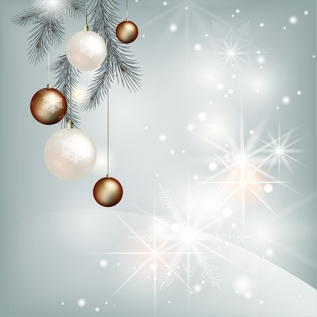 Shining silvery Christmas background with decorated coniferous branch