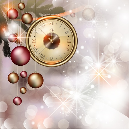 Bright vector Christmas background with clock