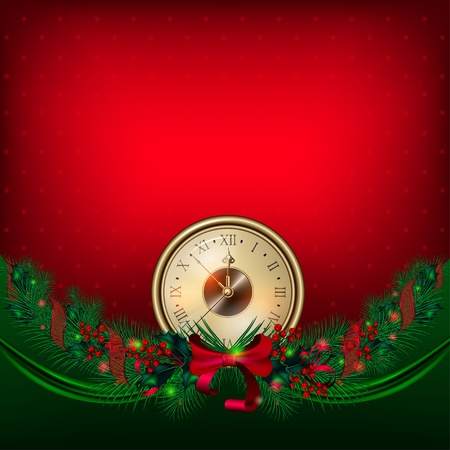 Bright vector Christmas background with clock and garland from fir-tree branches Vector