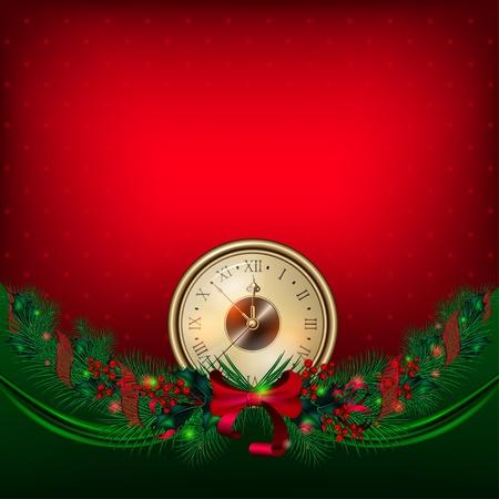 Brillante vector de Navidad de fondo con el reloj y guirnaldas de abeto ramas
