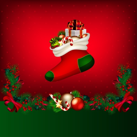 Bright vector Christmas background with garland from fir-tree branches and gifts Illustration