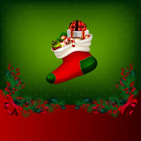 Bright vector Christmas background with garland from fir-tree branches and gifts Vector