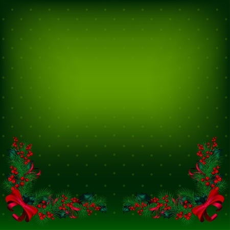 Bright green vector Christmas background decorated by fir-tree branches