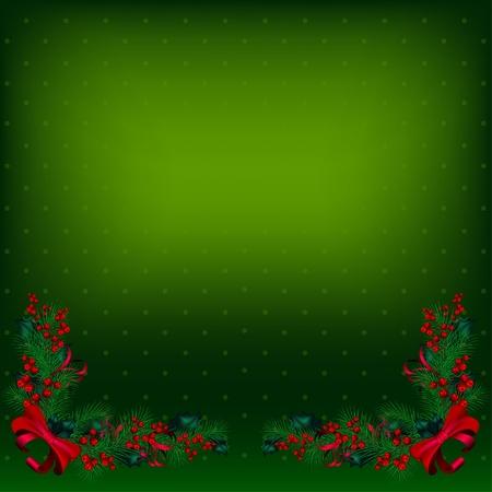 De color verde brillante vector fondo de Navidad decorado con ramas de abeto