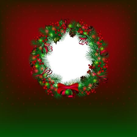 wreath vector: Bright vector Christmas background with christmas wreath