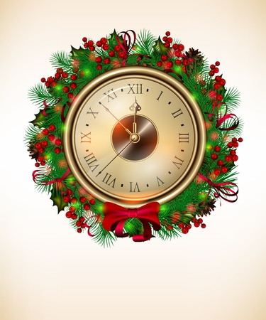 Bright vector Christmas background with clock and christmas wreath Illustration