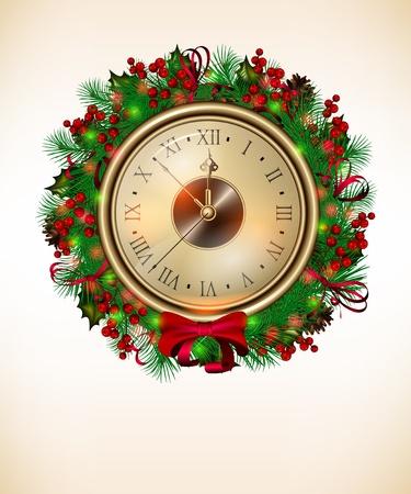 Luminoso vettore sfondo di Natale con orologio e corona di natale Archivio Fotografico - 11272406