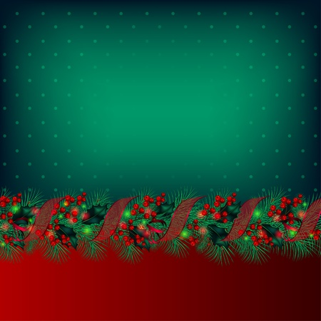 Bright green vector Christmas background decorated by garland from fir-tree branches Illustration