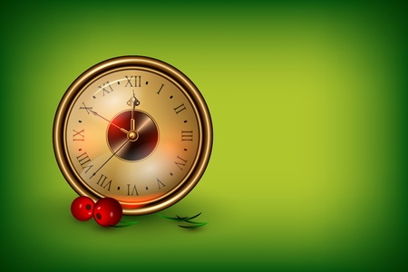Clock showing 10 minutes about new year decorated with red berries Illustration