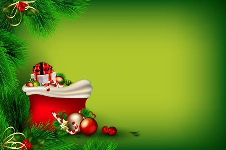 Bright green Christmas background with bag of gifts