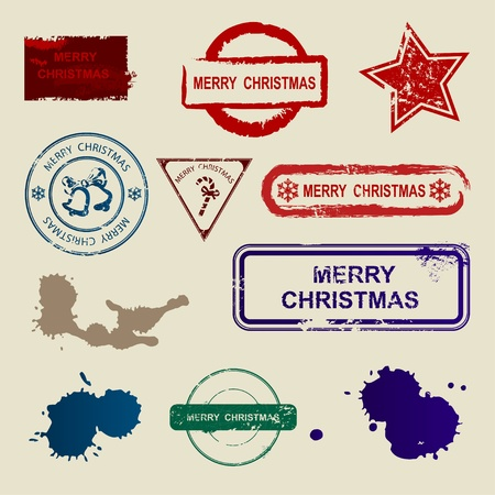 Vector set of seals 'Merry Christmas' Vector