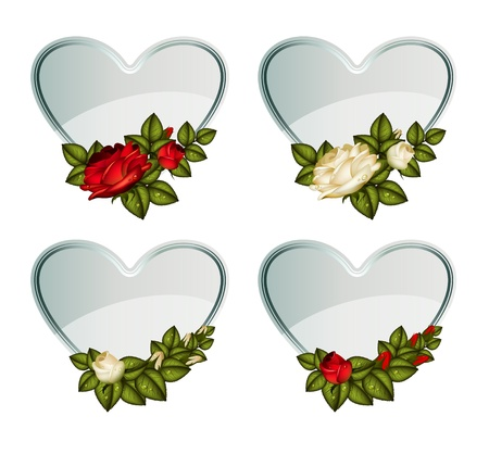 roses and hearts: Set of silver vector cards_heart decorated by roses