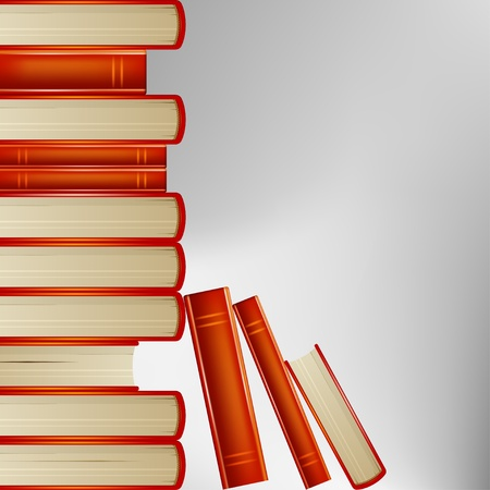 old book cover: Pile of books in an orange cover on gray background Illustration