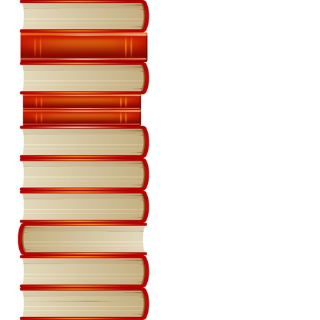 Heap of orange books isolated on white background Illustration