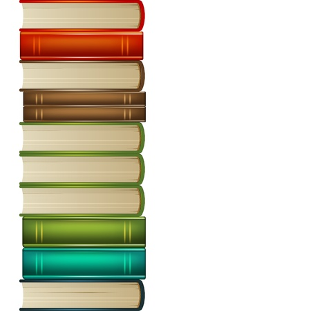 library book: Heap of multi-coloured books isolated on white background Illustration