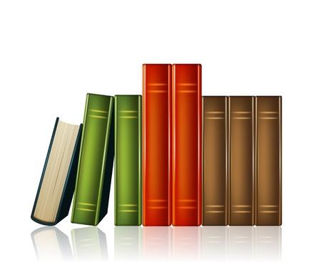 Mont�n de libros de varios colores sobre fondo blanco