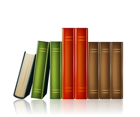Heap of multi-coloured books isolated on white background Illustration
