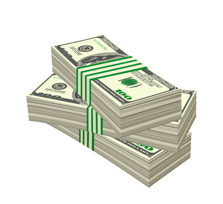 Heap of dollars isolated on white background. Vector illustration Ilustração
