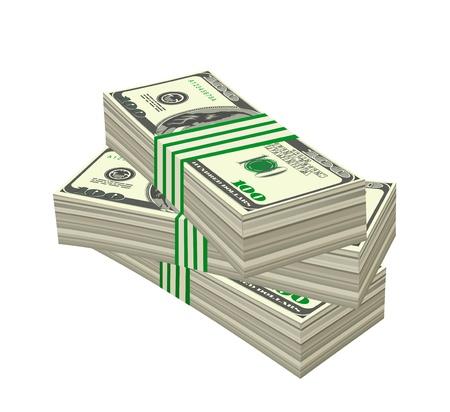 Tas de dollars isolé sur fond blanc. Vector illustration Banque d'images - 12359580
