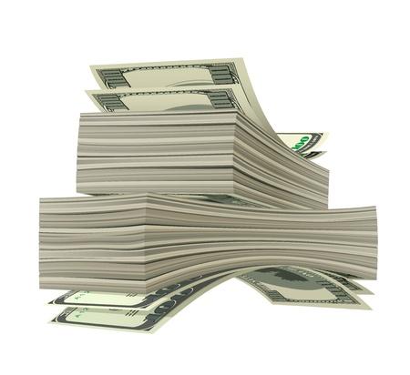 pile of cash: Heap of dollars isolated on white background. Vector illustration Illustration
