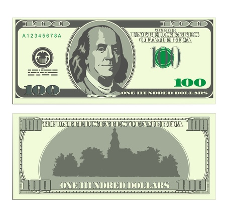 Hundred dollar banknote. Two sides. Vector image