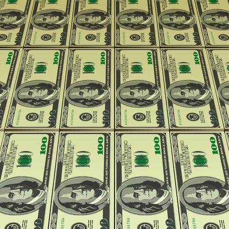 Hundred Dollar Bills for background  Vector