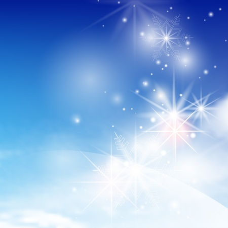 clean air: Blue winter abstract background with snowflakes