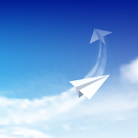 airplane: Paper plane against sky with clouds