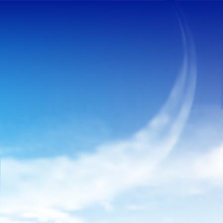 Cielo azul con nubes y rastros de avi�n