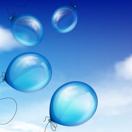 Globos de color azul contra el cielo con nubes
