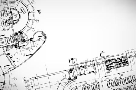 건축가: 회색 추상적 인 배경입니다. 건축 테마. 작업 도면