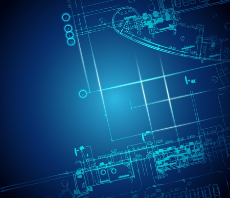 Dark blue abstract background. Architectural theme. Working drawing
