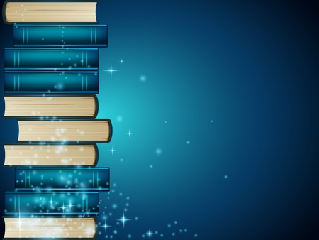literatures: Heap of books on dark blue background