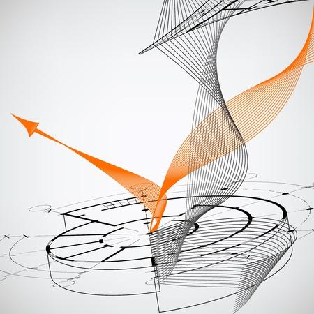 Fondo brillante abstracto con flecha naranja Vectores