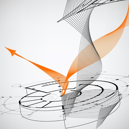 Bright abstract background with orange arrow