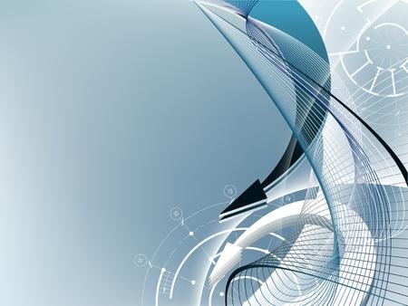 建築要素と矢印の付いた水色の抽象的な背景