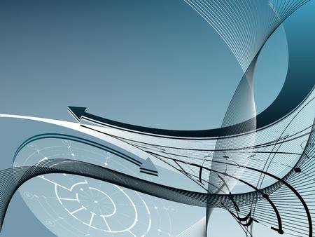 arquitecto: La luz azul de fondo abstracto con las flechas y los elementos arquitect�nicos