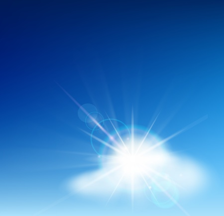 Bright blue sky with easy clouds and solar patch of light Vector