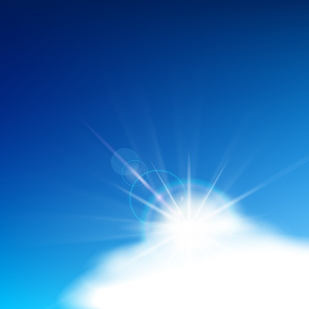 patch of light: Bright blue sky with easy clouds and solar patch of light