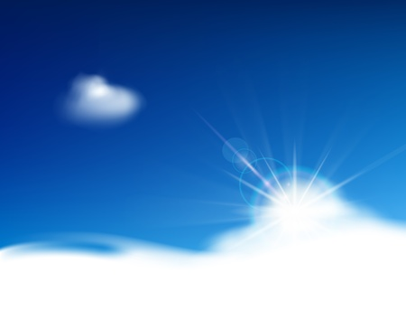 Bright blue sky with clouds and place for text Illustration