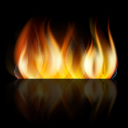 Dark abstract background with bright orange fire