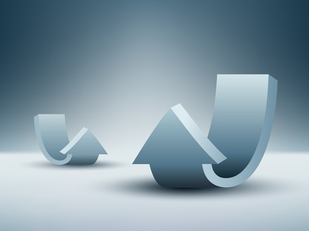 upward: Blue abstract background with arrows  indicate upward