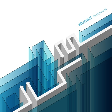 Abstracte achtergrond met glazen labyrint zowel de witte pijlen Stockfoto - 12890817