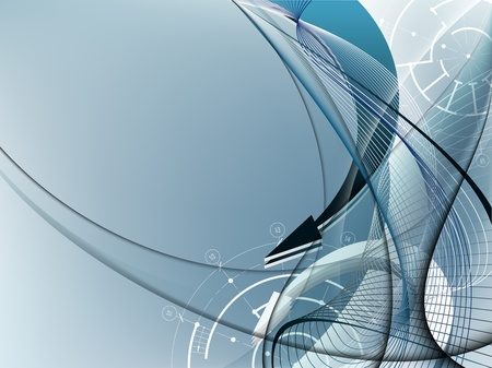 futuristic interior: Light blue abstract background with arrows and architectural elements