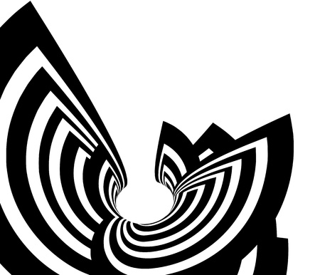 Black and white striped abstract background with bend forms