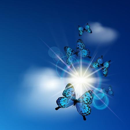 Blue butterflies flying against the solar sky